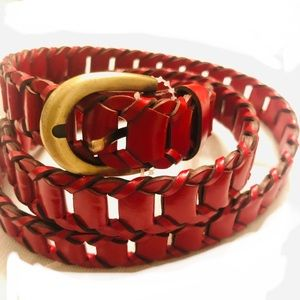 Like New Red leather Braided belt